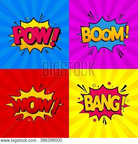 Set Of Comic Expressions Boom, Pow, Wow, Bang On Colored Backgrounds. Pop Art Style. Vector Illustra