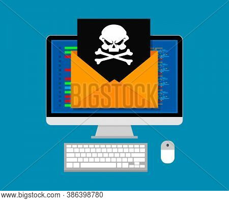 Vector Illustration Concept Of Virus And Hacking. Envelope With Skull On Screen Computer. Flat Desig