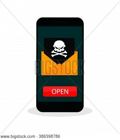 Vector Illustration Concept Of Virus And Hacking. Envelope With Skull On Screen Smartphone Isolated