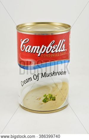Manila, Ph - Sept 10 - Campbells Cream Of Mushroom Can On September 10, 2020 In Manila, Philippines.