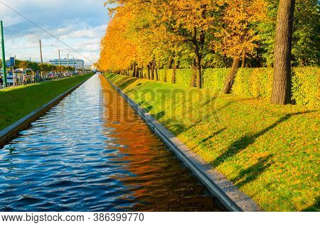St Petersburg, Russia - October 3, 2016. Autumn Landscape Of St Petersburg - Swan Canal And Autumn P