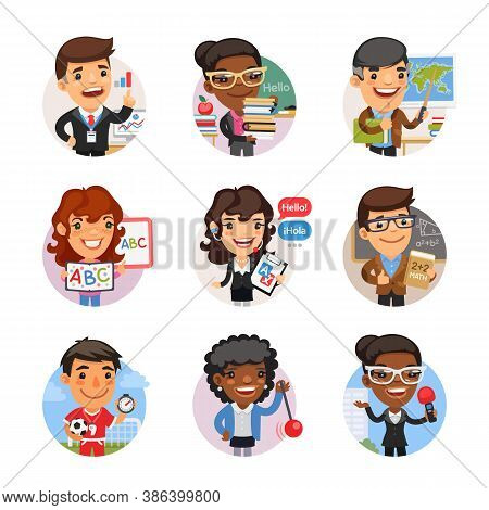 Set Of Avatars With People Of Different Professions. Team Leader, English Teacher, Geographer, Trans