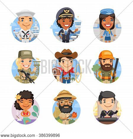 Set Of Avatars With People Of Different Professions. Sailor, Private Jet Pilot, Stewardess, Soldier,