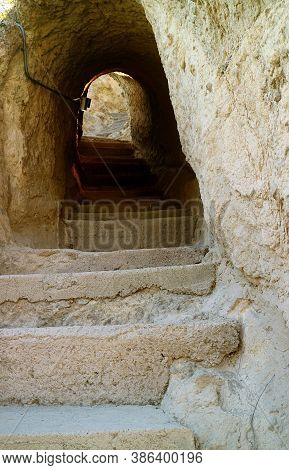 Passageways Inside The Medieval Cave City Of Vardzia On The Erusheti Mountain Near The Town Of Aspin