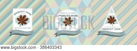 Three Colored Labels With Illustration Of Horse Chestnut Stock Illustration