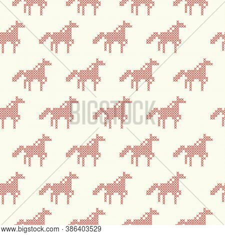 The Seamless Pattern With The Cross-stitch Red Horses On The Beige Background.