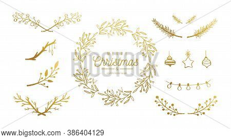 Merry Christmas Vector Hand Drawn Decoration Set. Christmas Wreath, Mistletoe Brunches, Berries