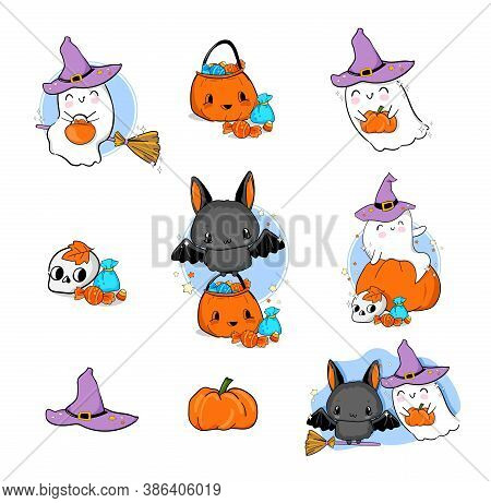 Set Of Cute Illustration Halloween Ghost With Pumpkin And Bat With Sweets Design Element For The Hol