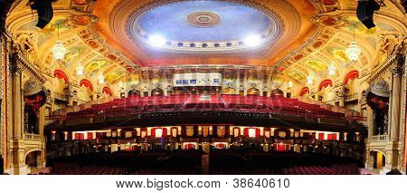 CHICAGO, IL - OCT 6: Chicago Theatre interior view on October 6, 2011 in Chicago, Illinois. The iconic Chicago Theatre marquee appears in film, television, artwork, and photography as city landmark.