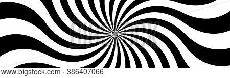 Black And White Spiral Header. Swirling Radial Pattern. Abstract Vector Illustration Banner