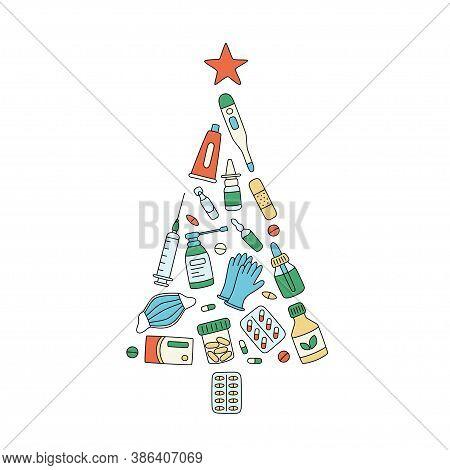 Christmas Tree Of Meds, Drugs, Pills, Bottles And Health Care Medical Elements. Medicine Christmas.