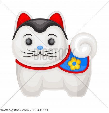 Porcelain Cat As Japanese Figurine Bringing Luck Vector Illustration