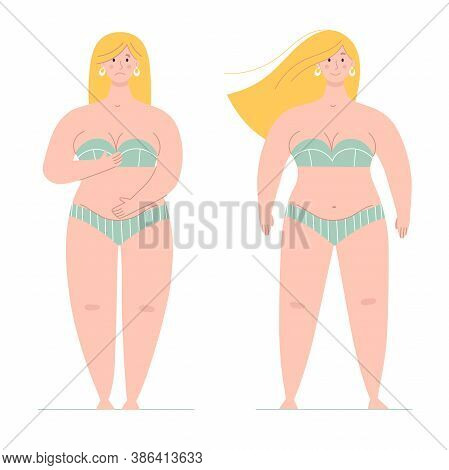 A Beautiful Plump Woman In A Swimsuit Stands In Full Growth.one Is Ashamed Of Her Body, The Other Is