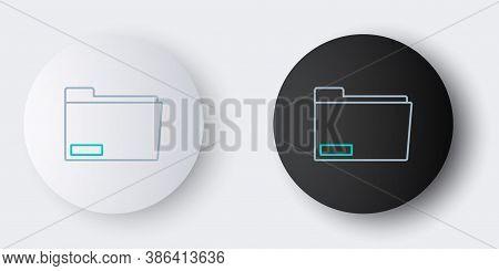 Line Document Folder Icon Isolated On Grey Background. Accounting Binder Symbol. Bookkeeping Managem