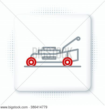 Line Lawn Mower Icon Isolated On White Background. Lawn Mower Cutting Grass. Colorful Outline Concep