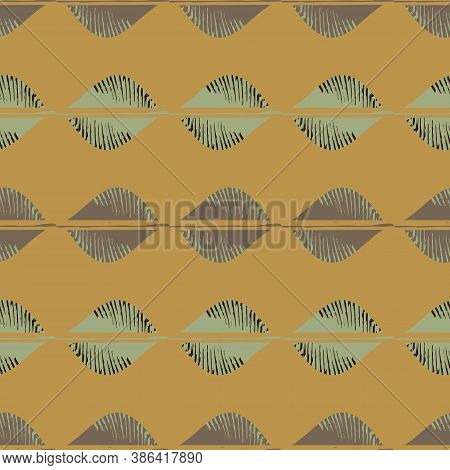 Mono Print Style Tribal Foliage Seamless Vector Pattern Background. Simple Lino Cut Effect Horiontal