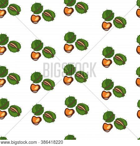 Seamless Pattern Of Chestnuts, For Wrapping Paper, Wallpaper, Fabric Pattern, Backdrop, Print, Gift