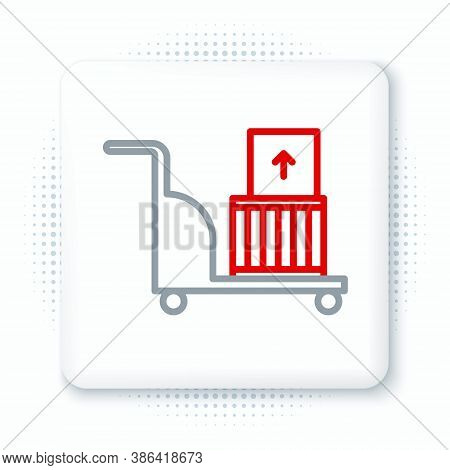 Line Electric Hand Truck And Boxes Icon Isolated On White Background. Dolly Symbol. Colorful Outline