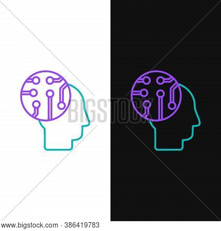 Line Human Brain As Digital Circuit Board Icon Isolated On White And Black Background. Human Head Ou