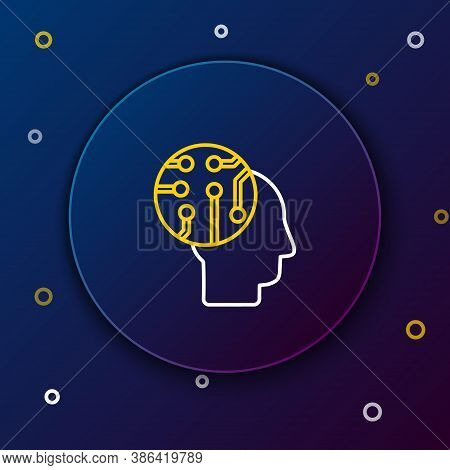 Line Human Brain As Digital Circuit Board Icon Isolated On Blue Background. Human Head Outline With