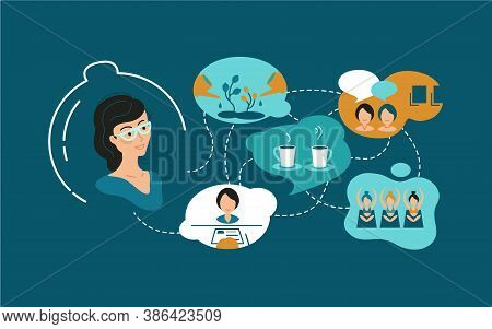 Illustration About Soft Skills, Small Talk, Communication With People, Useful Acquaintances, Joint A