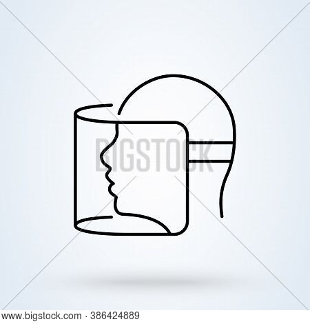 Face Shield Or Transparent Plastic Mask Sign Line Icon Or Logo. Protection From Covid-19 Concept. Fa