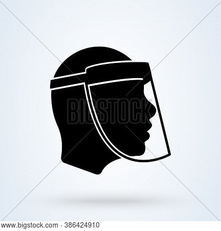 Face Shield Or Transparent Plastic Mask Sign Icon Or Logo. Protection From Covid-19 Concept. Face Sh