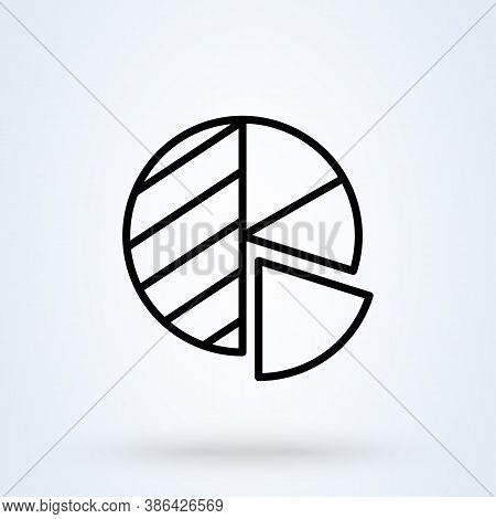 Business Pie Chart Sign Line Icon Or Logo. Presentations And Infographic Concept. Pie Chart Infograp