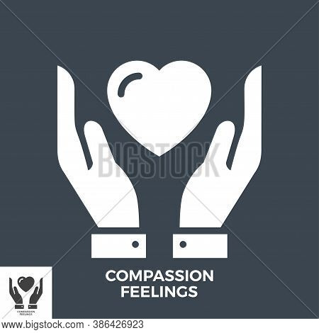 Compassion Feelings Glyph Vector Icon Isolated On The Black Background.