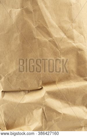 Craft Paper.  Crumpled Brown Cardboard Paper Texture. Old Crumpled Recycled Paper Texture, Color Bei