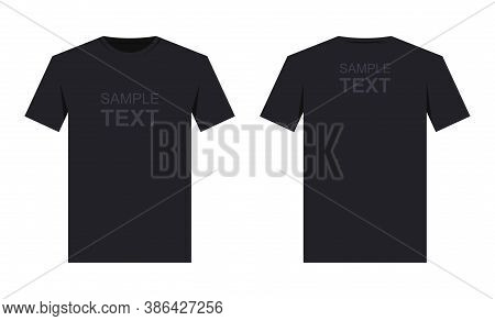 Men's Black T-shirt Design Template, From Two Sides. Front And Back Sides