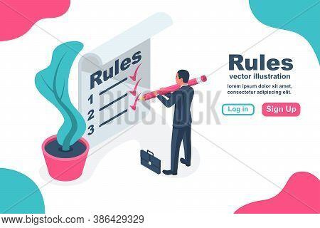 Landing Page Rules. Businessman Write In Notebook Regulations. Checklist With Requirements. Rule Lis