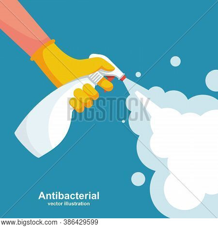 Landing Page Coronavirus Protection. Man In Gloves Holds Bottle Of Antiseptic Spray. Antibacterial F