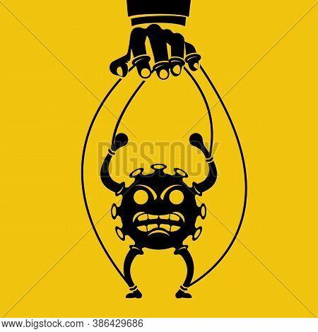 Manipulation Coronavirus Black Icon. Silhouette Virus On Ropes. Abuse Position. Vector Illustration