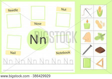 Alphabet Tracing Worksheet For Preschool And Kindergarten. Writing Practice Letter N. Exercises With