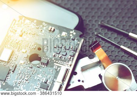 Desk For Repair Electronic Equipment On Dark Background With Copy Space, Electronic Repairing Electr