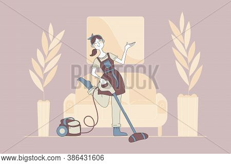 Cleaning, Housekeeping, Leisure Concept. Young Happy Smiling Woman Girl Housekeeper In Apron Cartoon