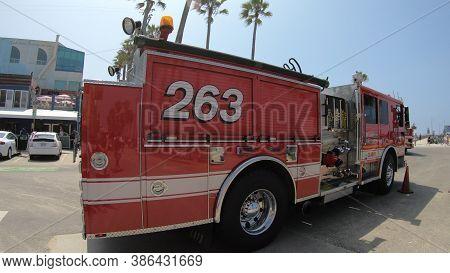 Los Angeles, Santa Monica, California, United States Of America - August 21, 2018: American Fire Tru