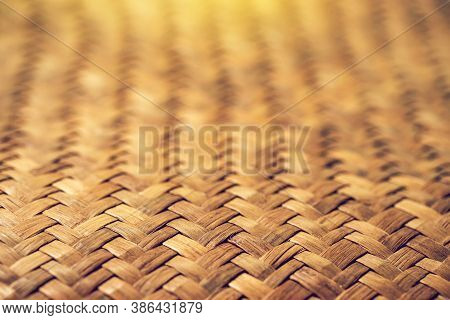 Pattern Of Brown Woven Reed Mat Texture Background, Weave Mat Crafted Used For Floor.