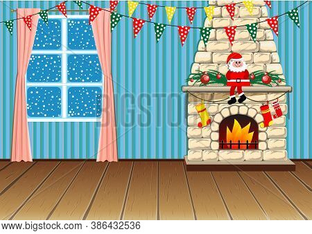 Christmas Room Decorated With Flags. Christmas Decorations For The Fireplace. In A Flat Cartoon Styl