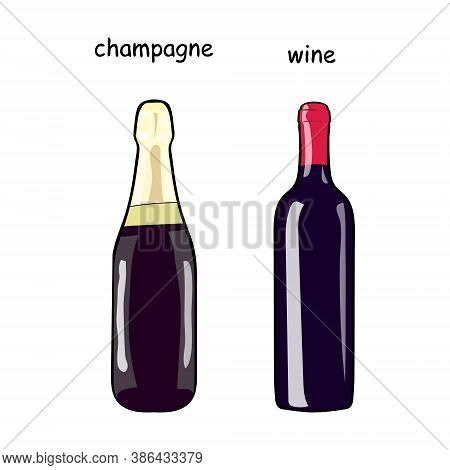 A Bottle Of Wine And A Bottle Of Champagne. Set Of Bottles With Alcohol. Hand Drawing Alcohol Bottle