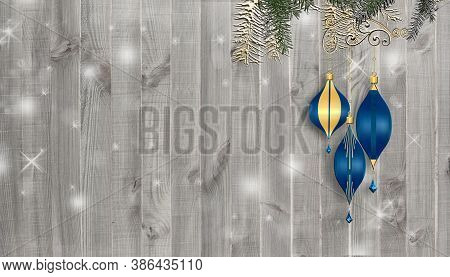 Christmas And New Year Background Over Wood. Blue Balls, Fir Branches On White Wooden Background. Co