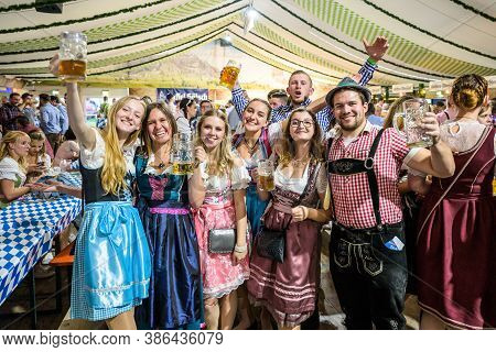 Koblenz Germany 27.09.2019 People Party At Oktoberfest In Europe During A Concert Typical Beer Tent