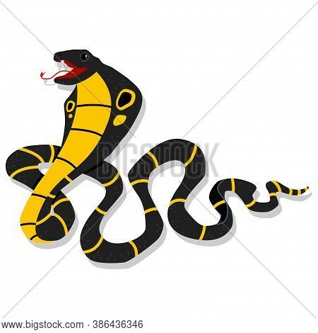 Cobra Snake Cartoon Character. Vector Illustration Isolated On White Background. Dangerous And Toxic