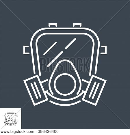 Gas Mask Related Vector Thin Line Icon. Isolated On Black Background. Editable Stroke. Vector Illust