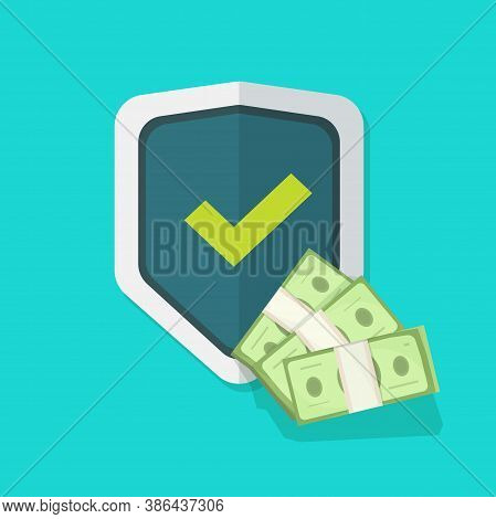 Financial Insurance Guarantees Money Protection Shield Icon Vector, Cash Investment Secure Safety Ca