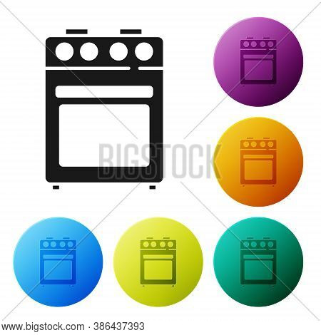 Black Oven Icon Isolated On White Background. Stove Gas Oven Sign. Set Icons In Color Circle Buttons