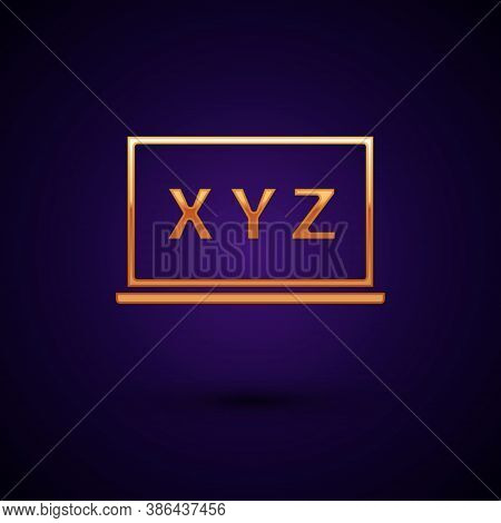 Gold Xyz Coordinate System On Chalkboard Icon Isolated On Black Background. Xyz Axis For Graph Stati