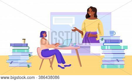 Online University Or School Education Concept With Diverse Teacher And Student Learning At Home In I
