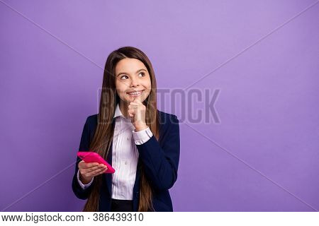 Portrait Of Her She Genius Brainy Small Little Cheery Curious Long-haired Girl Using Cell Thinking C